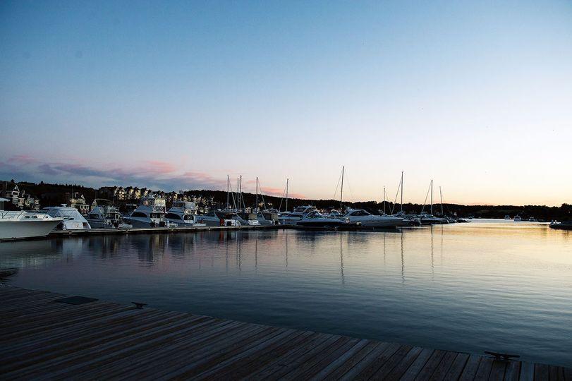 Sun setting over the marina