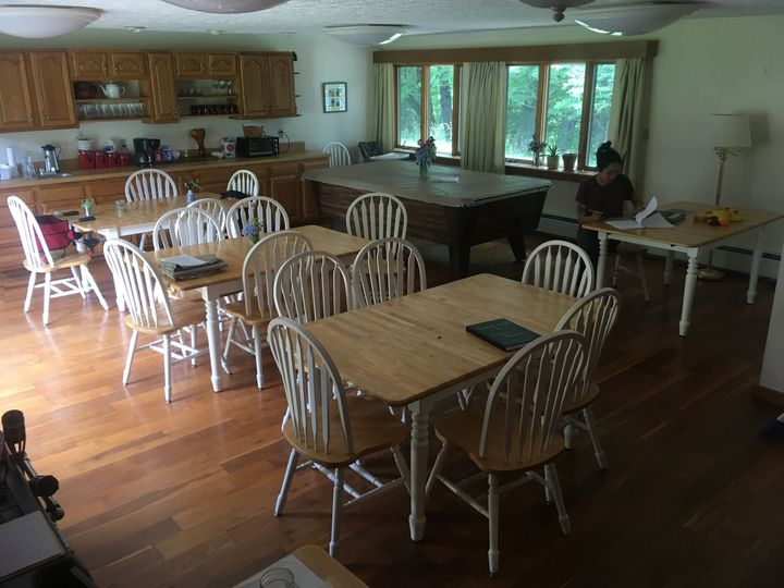 Our dining room can seat 30 people. It is adjacent to our large kitchen and great room.