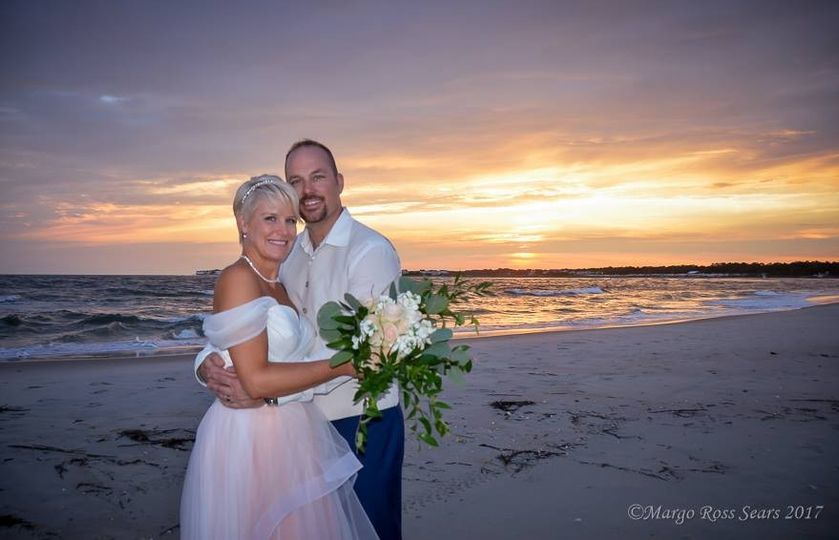 Just married at sunset time!