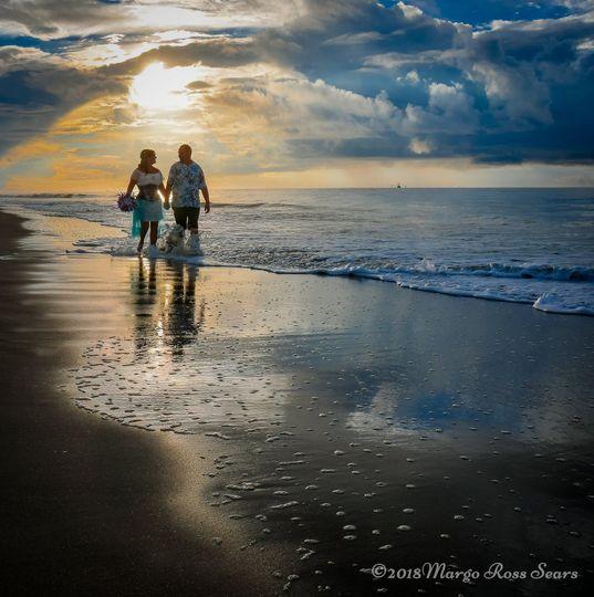 A sunrise beach wedding