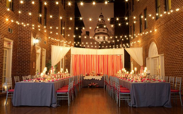 Reception tables and lights