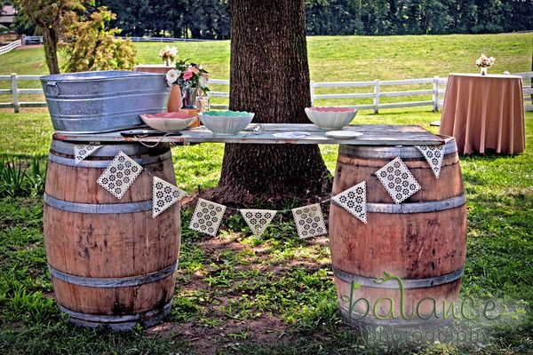 Rustic makeshift table using barrels