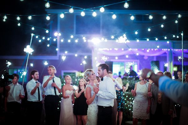 Our market lights and LED Up-Lighting for an outdoor wedding reception in Auburn, Ca.