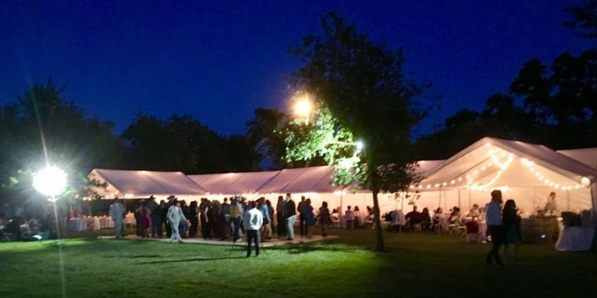 Our market lighting for a tent wedding reception..