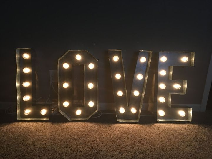 Our custom marquee Love sign.
