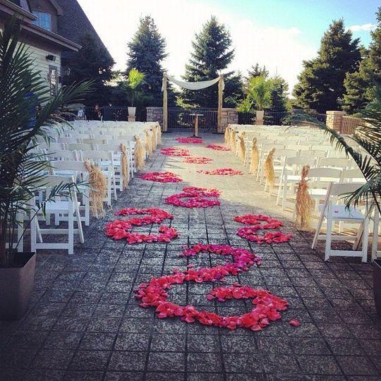 Decorated wedding aisle