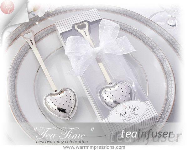 "http://www.warmimpressions.com ""Tea Time"" Heart Tea Infuser in Elegant White Gift Box Favors -..."