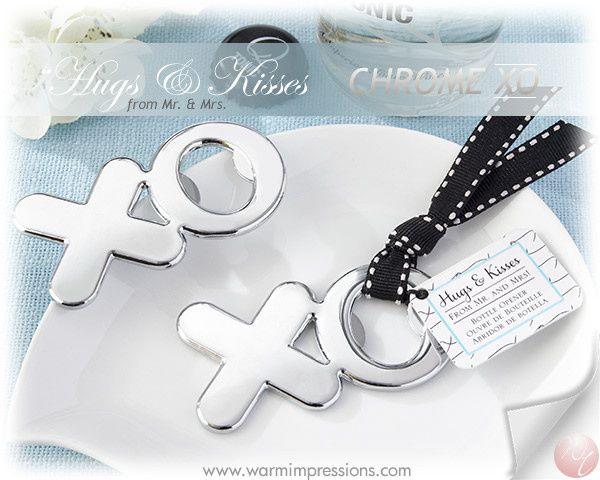 """http://www.warmimpressions.com - """"Hugs & Kisses from Mr. & Mrs."""" Chrome XO Bottle Opener - Item:..."""