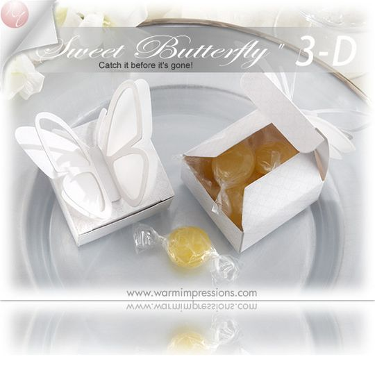 """http://www.warmimpressions.com - """"Sweet Butterfly"""" 3-D Butterfly Favor Box (Set of 24) (Available..."""