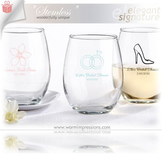 personalized stemless wine glass favors kate aspen