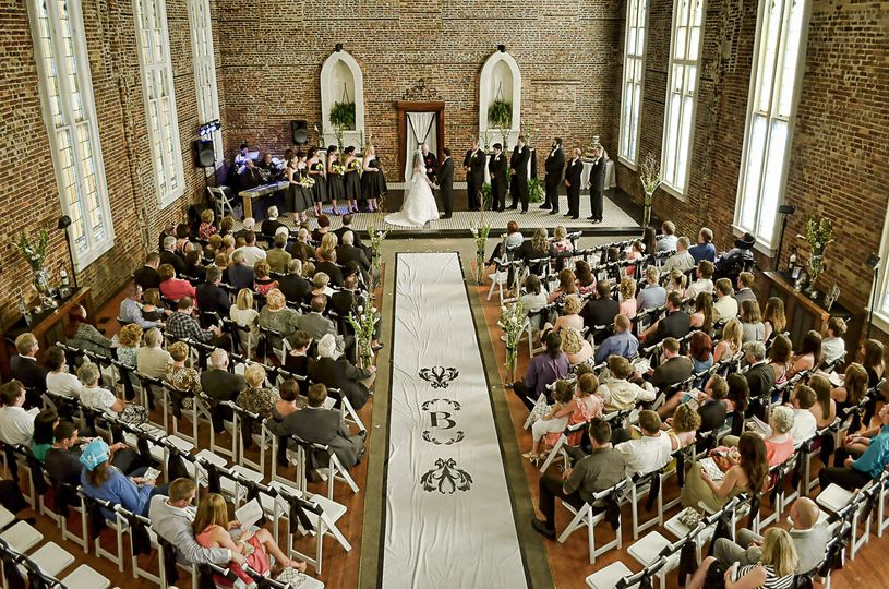 Wedding Ceremony at St. Thomas Preservation Hall, Wilmington, NC. Shot from balcony. Billy Beach.