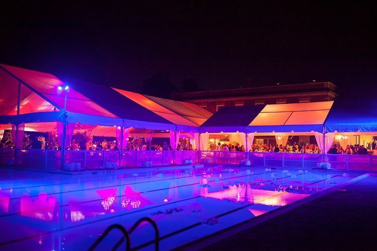 Blue lighting in the pool area