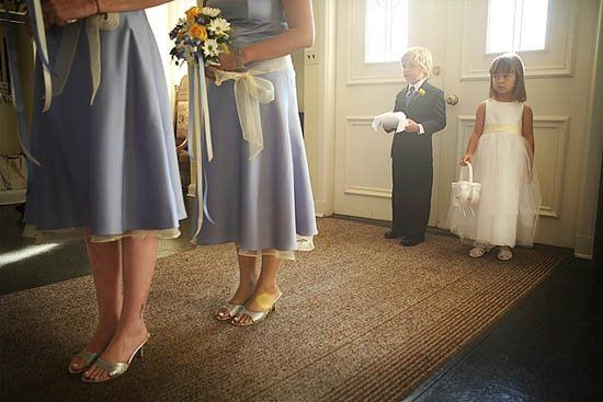 Everybody's ready to walk down the aisle and the little ones look petrified but adorable of course!
