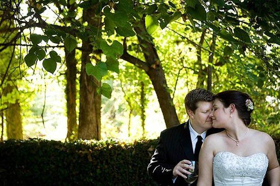 Stacey and Daniel sharing a quiet moment together right after the ceremony at the Alwyngton Manor in...