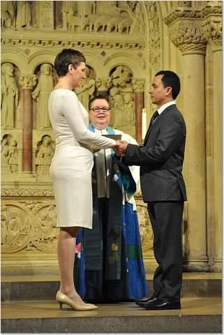 Heartwarming winter wedding in Christ Chapel atThe Riverside Church with couple who are devoting...