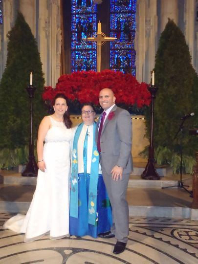 International winter wedding in the Nave at The Riverside Church. Couple from Gibraltar celebrated...