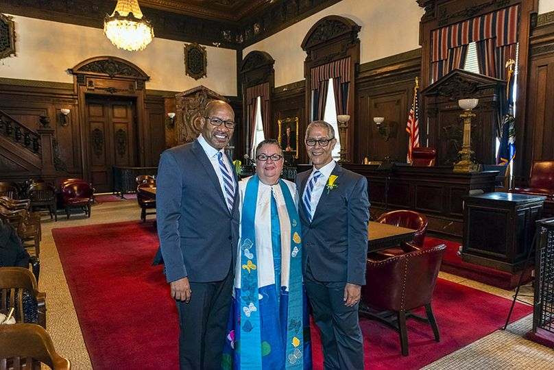 Majestic wedding ceremony was officiated in Surrogate Courthouse in New York City Hall surrounded by...