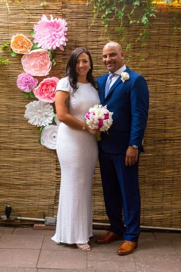 Sunlit summer wedding at Bacchus Bistrot a Vins where the heartwarming story of how they met was...