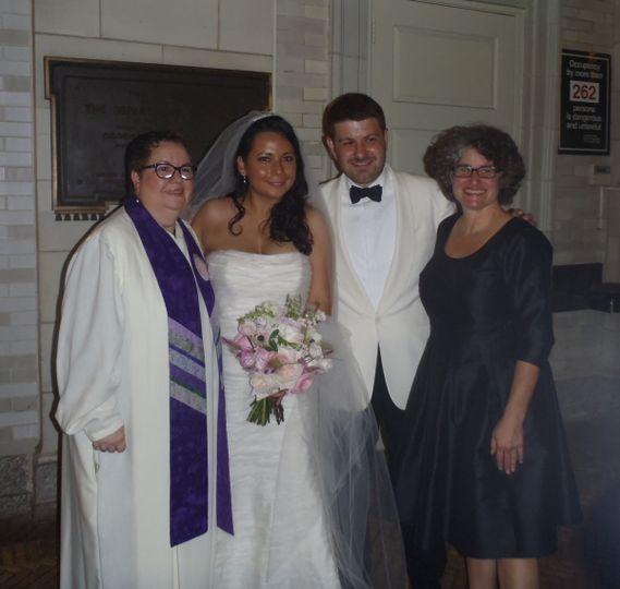 Interfaith Jewish Christian Bilingual Wedding at Prospect Park Boathouse.