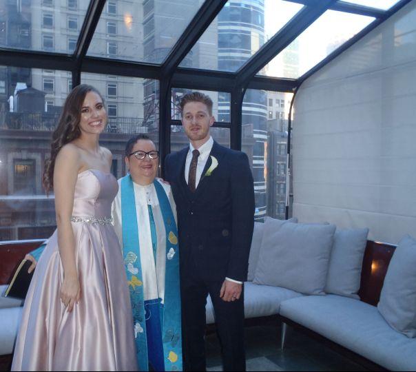 Elegant Royalton Hotel  Fall wedding in NYC. American & English families in attendance.
