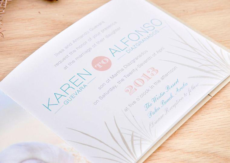 Aruba wedding invitation