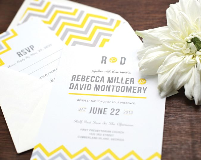 Yellow gray cheveron invite