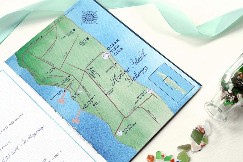 Bahamas wedding map
