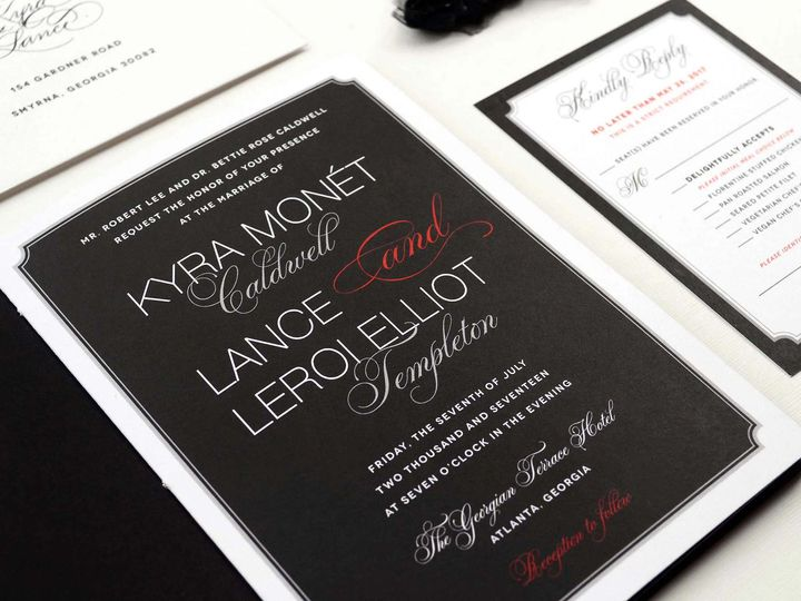 Tmx Black Red Wedding Invitation Elegant 51 405360 Pittstown, NJ wedding invitation