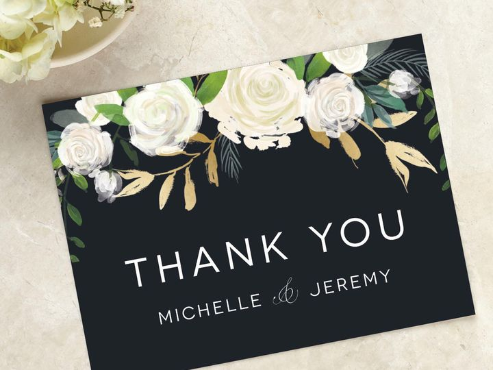 Tmx Blackandwhite Whitefloral Thankyoucard 51 405360 Pittstown, NJ wedding invitation