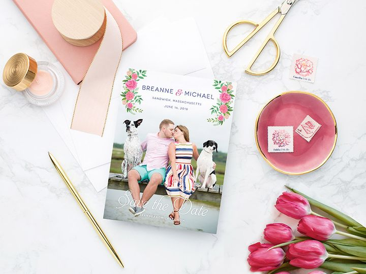 Tmx Bright Pink Capecod Floral Savethedate 51 405360 Pittstown, NJ wedding invitation