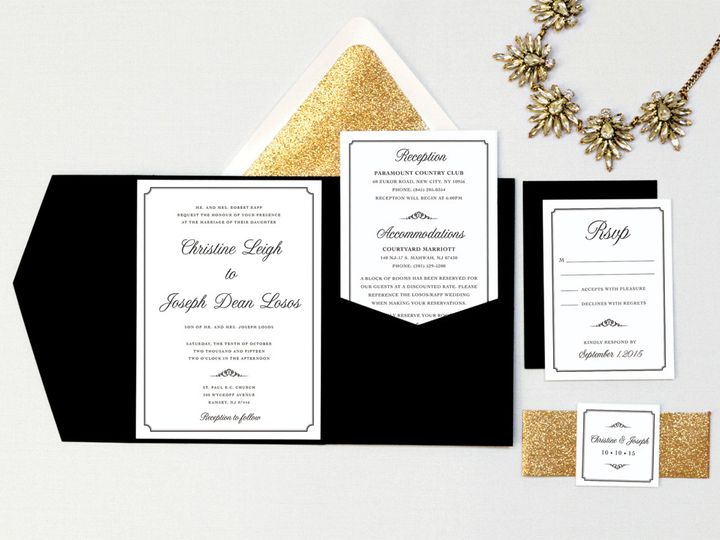 Tmx Custom Blacktie Wedding Invitation Pocketfold 51 405360 Pittstown, NJ wedding invitation