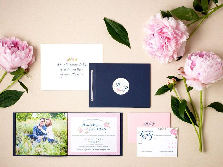 Tmx Pink Floral Wedding Invitaiton Booklet Suite 51 405360 Pittstown, NJ wedding invitation