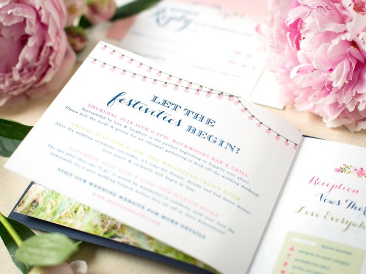 Tmx Pink Navy Flower Invitaiton Booklet Festivities 51 405360 Pittstown, NJ wedding invitation