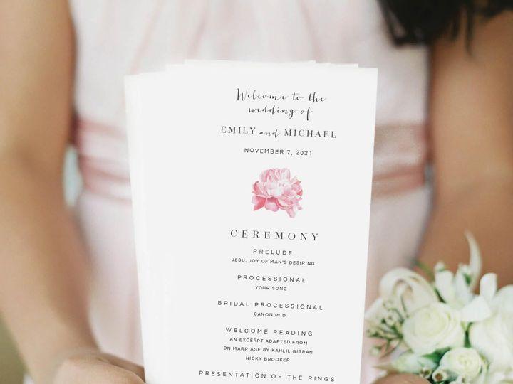 Tmx Pink Peony Wedding Program 51 405360 Pittstown, NJ wedding invitation