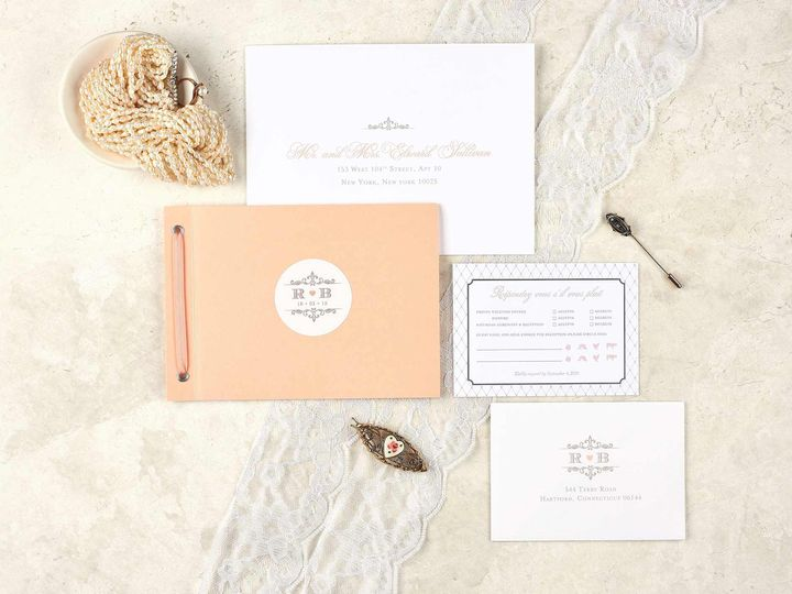 Tmx Romantic Antique Peach Wedding Invitation Booklet 51 405360 Pittstown, NJ wedding invitation