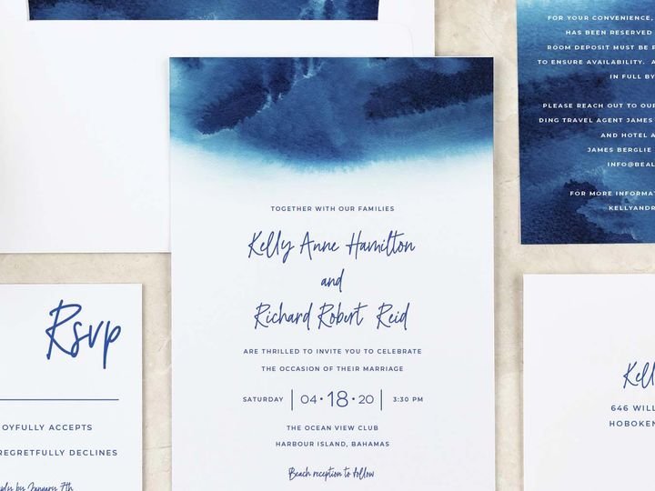 Tmx Watercolor Blue Weddinginvitation 51 405360 Pittstown, NJ wedding invitation