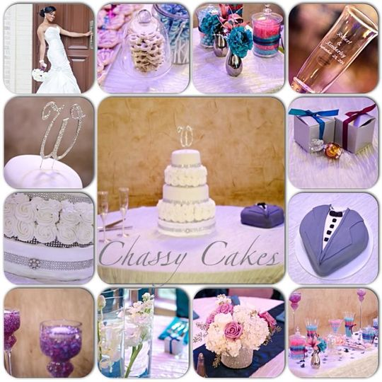 Wedding /grooms cake, dessert bar and favors done by Chassy Cakes