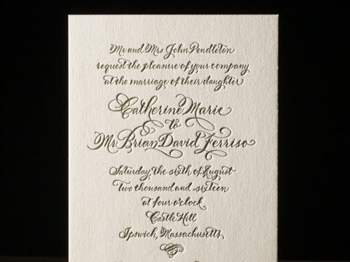 Tmx 1428638719104 Classic Calligraphy Letterpress Sample 1 576x576 La Jolla, CA wedding invitation