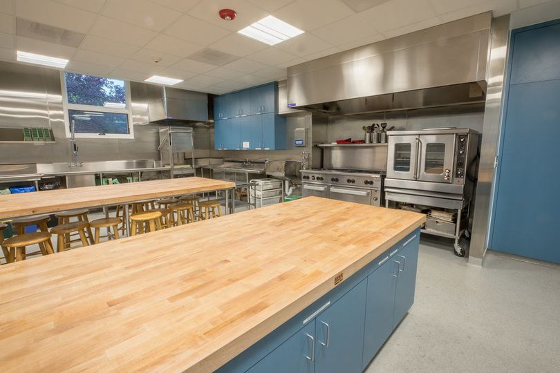 The commercial kitchen is modern and spacious, great for cooking classes. Your caterer will love it!