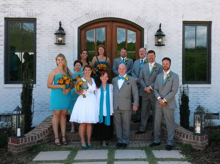 Bride and groom with the guests