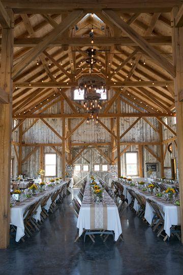 The barn's high beamed ceilings