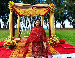 mira in front of mandap