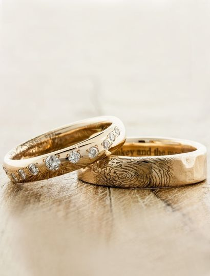 Lito & Lili: His & Hers matching wedding bands with fingerprint & engraving personalization
