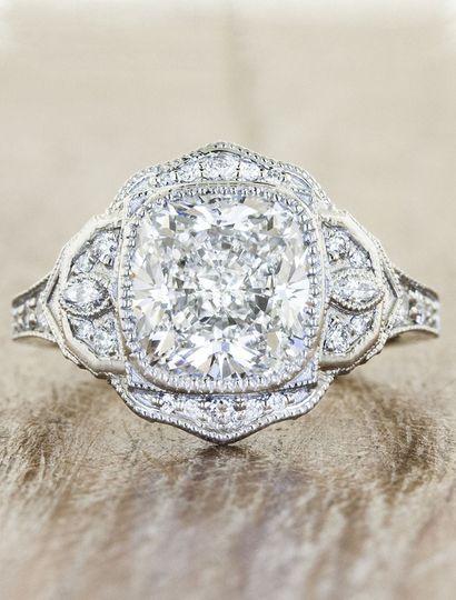 Paulina: an Edwardian-era inspired 3.0 carat cushion cut diamond engagement ring. Pure vintage glam.