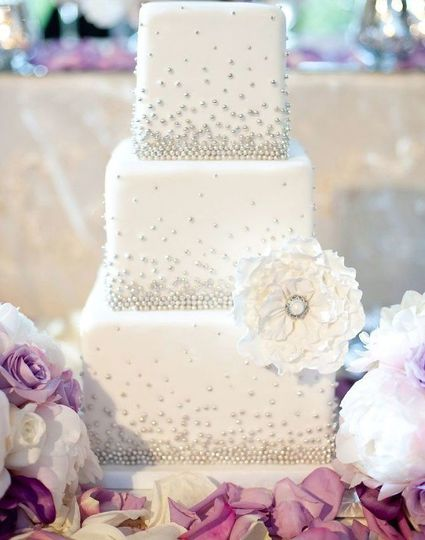 vintage white wedding cake with sugar pearls