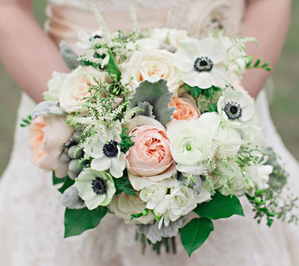 Vintage bridal bouquet with garden roses, freesia, ranunculus, anemone and astilbe for Lauren