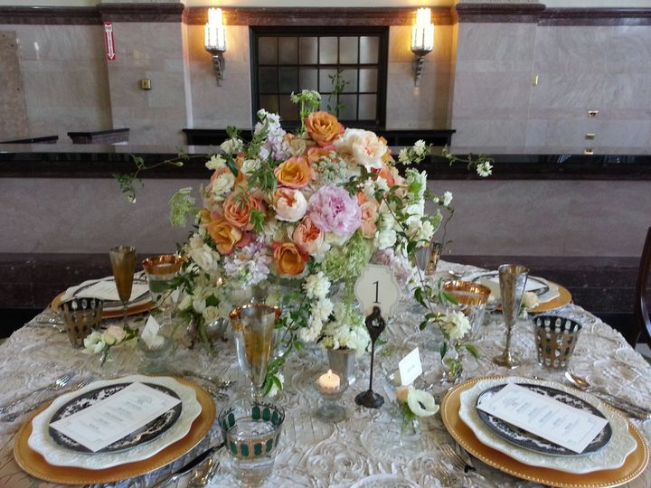 Styled shoot table centerpiece in the T and P train station