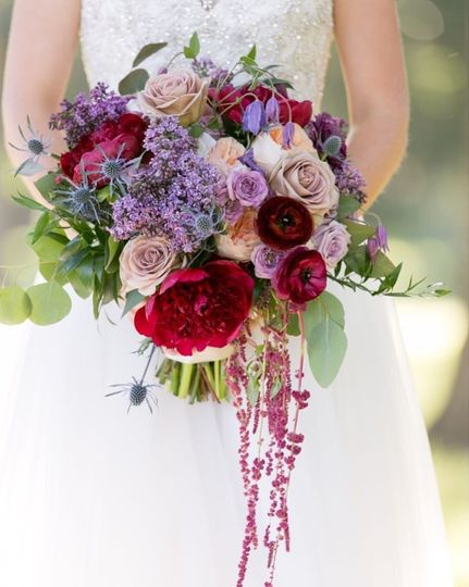Annie's lush bouquet with lots of gorgeous burgundy, purple and blue tones