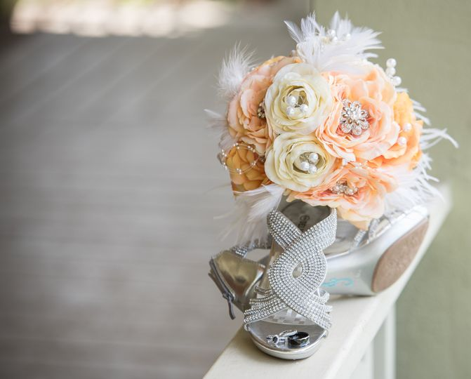 Wedding heels and flowers