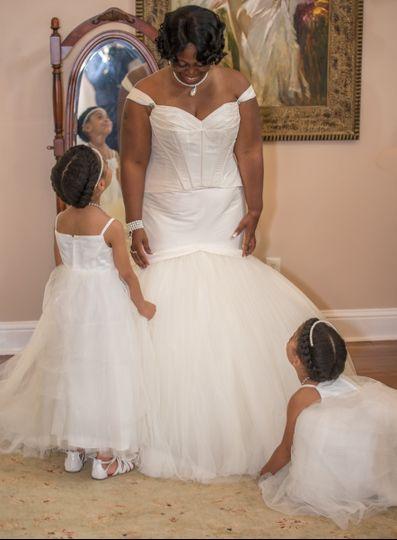 Bride with her junior bridesmaids